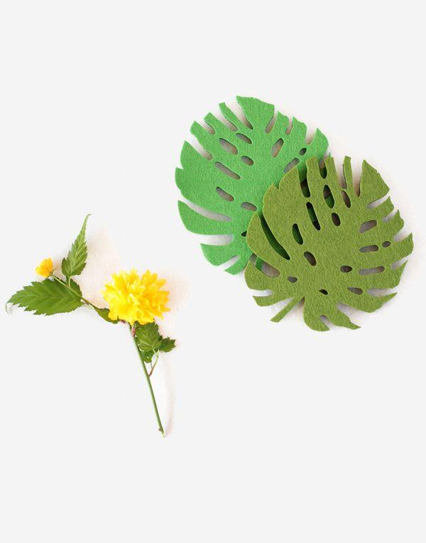 12cm Blätter Glasuntersetzer aus Filz