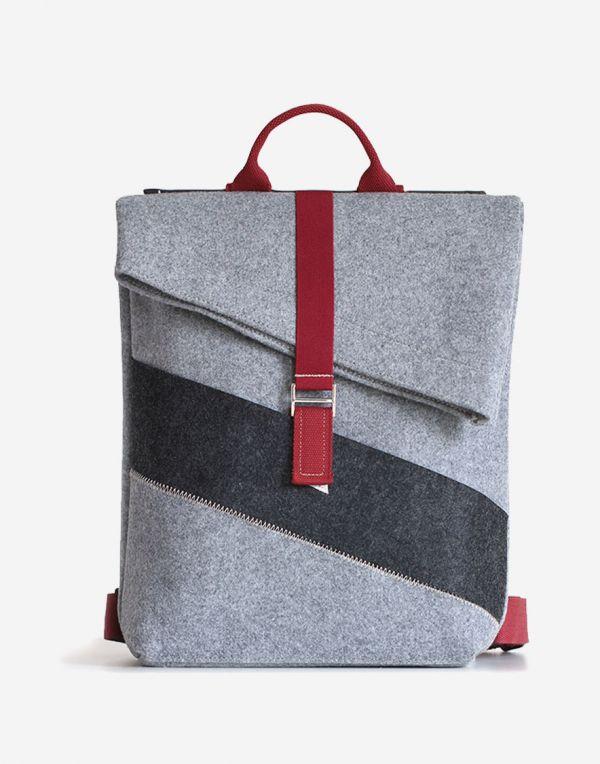 Lucky Sign DeSti Designer Klapp Daypacks Rucksack - Weinrot